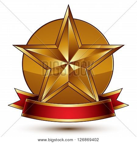 Golden symbol with stylized pentagonal glossy star and red decorative curvy ribbon best for use in web and graphic design. Refined vector icon placed in a circle. Sophisticated gold ring isolated on white background.
