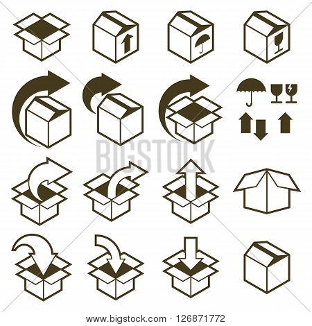 Packaging boxes icons isolated on white background vector set pack simplistic symbols vector collections.
