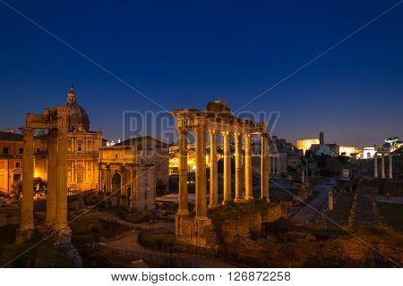 Twilight at the Forum Romanum Rome Italy