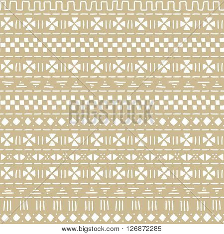 Beige and white mudcloth african ethnic geometric seamless pattern, vector background
