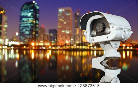 CCTV with Blurring City in night background.