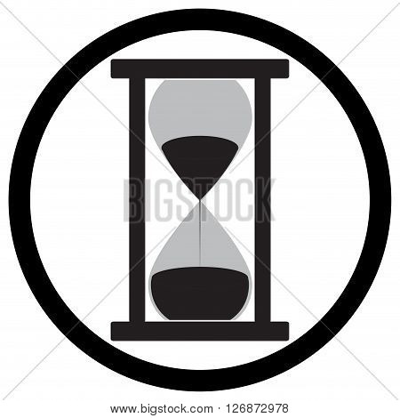 Hourglass icon flat. Clock instrument for measure sandglass equipment measurement and sandclock flow. Vector flat design illustration