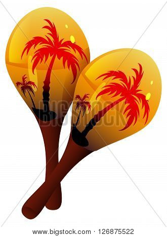 Maracas musical instrument. Mexican maraca. Isolated on white vector illustration