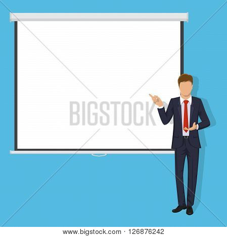 Modern business teacher giving lecture, training, seminar or presentation. Businessman, business coach standing in front of Blank Projection screen. Modern flat style vector illustration