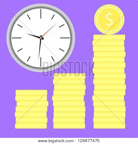 Time is money. Clock with coin stock. Money stock and time coin investment and clock banking. Vector flat design illustration