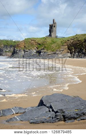 wild atlantic way castle and beach in Ballybunion county Kerry Ireland