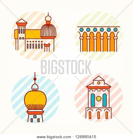 Set of Monument, building, tower and collonade thin line colorful vector icons. Cartoon logo, badge and label of building in antique, renaissance and byzantine style.