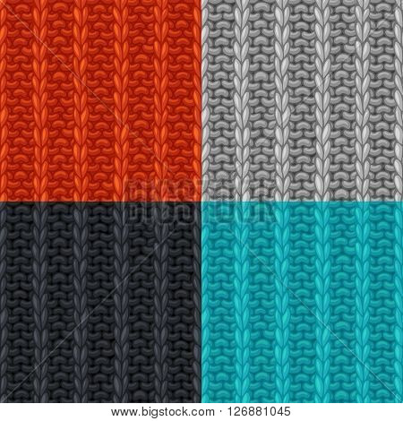 Vector Set Of Seamless Patterns In Knitting Style.