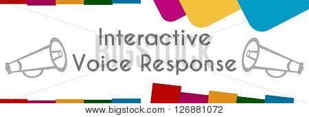 Interactive voice response text written over colorful background. poster