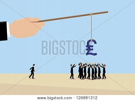 A large hand holds a Sterling symbol on a stick while employees flock around it. A metaphor on management leadership motivation and financial incentive.