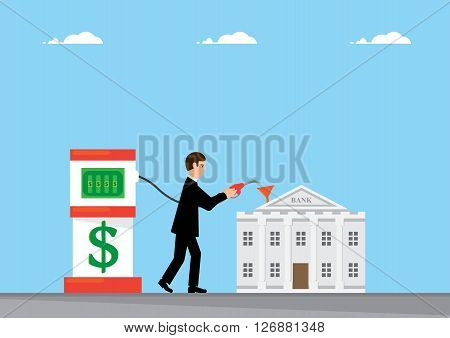 A business man topping up the a Bank using a pump to pump in Dollars.
