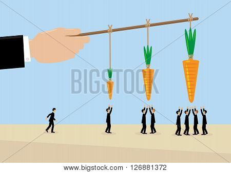 A large hand holds a carrots on a stick. A metaphor on management incentive and leadership.