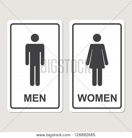 Restroom icon.WC icon.Toilet icon.Male and female WC icon denoting toilet and restroom facilities for both men and women with black male and female silhouetted figures in flat style