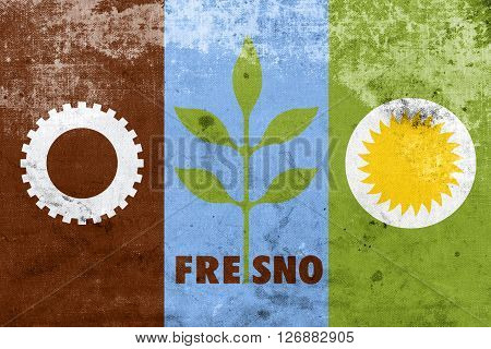 Flag Of Fresno, California, With A Vintage And Old Look