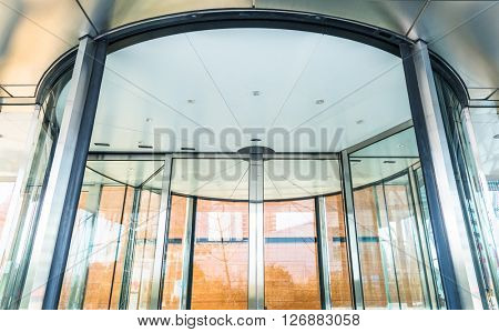 detail of revolving door ,close-up view.