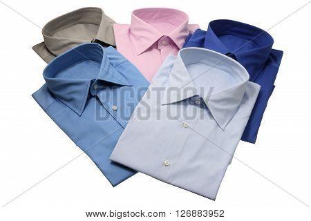 Folded Business Shirts on Isolated White Background