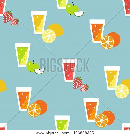 Smoothie raw coctail, juice repeat pattern. Vector cartoon flat design.