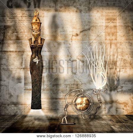 surrealistic representation of the Egyptian god osiris