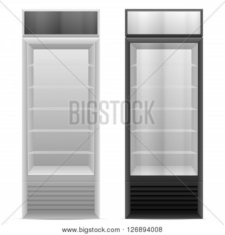 Display fridge on a white background. Vector illustration.
