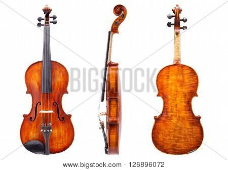 Front, Side And Back View Of A Violin