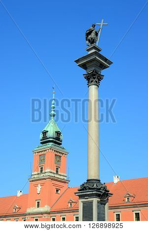 Royal Castle And A Column In Old Town Of Warsaw