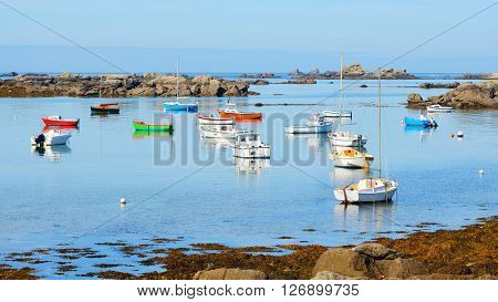 Yachts And Boats During Ocean Low Tide In Lilia, Brittany, France
