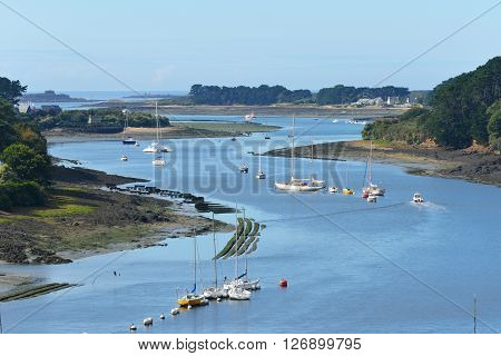 Aerial view of yachts and boats on l'Elorne river on a sunny day in Brittany France