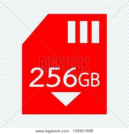 Memory Card 256 Gb icon Illustration design