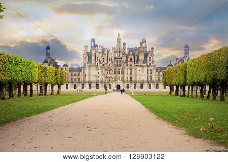 Chateau de Chambord royal medieval french castle at Loire Valley in France Europe