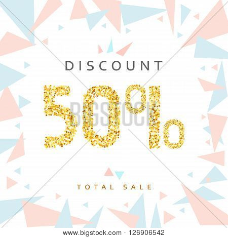 Discount 50. Discounts price tag. Golden discount. Black Friday. Clearance Sale. Discount coupon. Discount gold. Sale discount