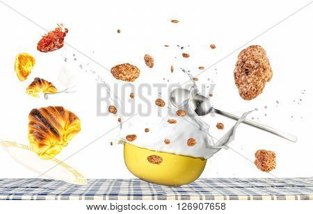 breakfast concept levitation no gravity cereal bowl milk cereals