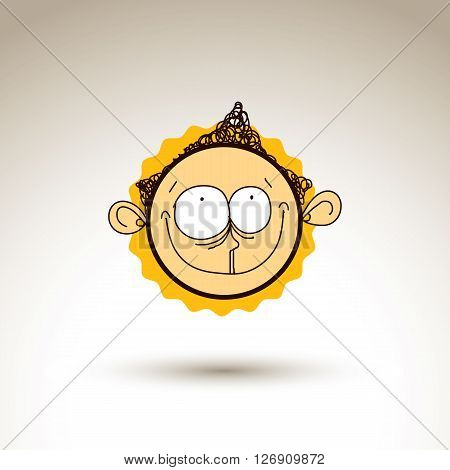 Vector Artistic Colorful Drawing Of Happy Person Face, Communication And Social Network Design Eleme