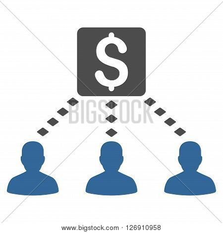 Money Recipients vector toolbar icon. Style is bicolor flat icon symbol, cobalt and gray colors, white background, rhombus dots.