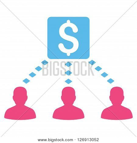 Money Recipients vector toolbar icon. Style is bicolor flat icon symbol, pink and blue colors, white background, rhombus dots.
