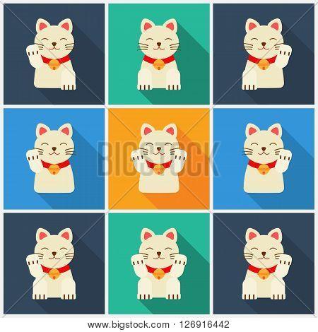 Set Maneki-neko cat. Vector flat illustration. neko