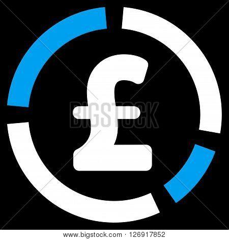 Pound Financial Diagram vector icon. Pound Financial Diagram icon symbol. Pound Financial Diagram icon image. Pound Financial Diagram icon picture. Pound Financial Diagram pictogram.