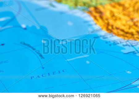 Pacific Ocean Marked on The World Map