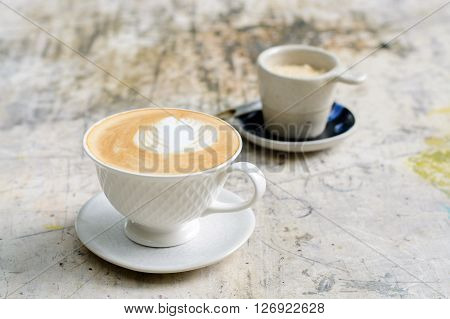 Caffee Latte In White Cup