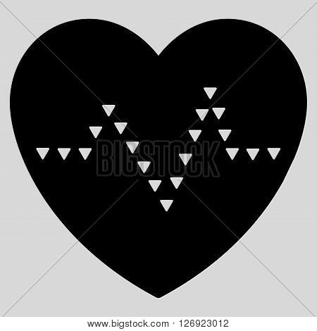 Dotted Heart Pulse vector icon. Dotted Heart Pulse icon symbol. Dotted Heart Pulse icon image. Dotted Heart Pulse icon picture. Dotted Heart Pulse pictogram. Flat black dotted heart pulse icon.