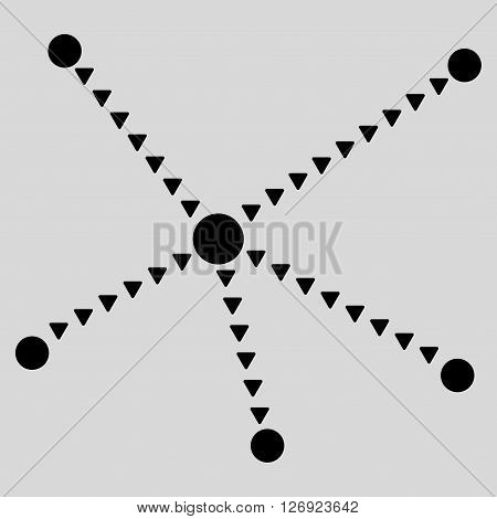 Dotted Relations vector icon. Dotted Relations icon symbol. Dotted Relations icon image. Dotted Relations icon picture. Dotted Relations pictogram. Flat black dotted relations icon.