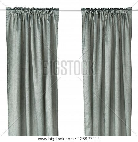 Classic dark grayish cyan curtain. Isolated on white background. Include path.