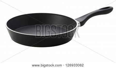 Side view of empty frying pan with teflon coating on white background. The fastening of the handle. Include clipping path