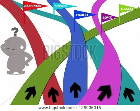 Life concept with serious man standing among the ways with difficult decision