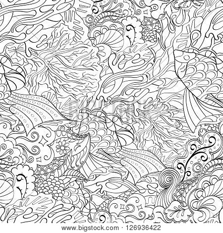 Tracery Seamless Calming Pattern. Mehndi Design. Neat Even Monochrome Binary Harmonious Texture. Alg