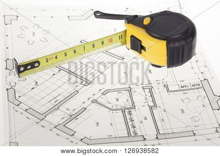 architectural blueprint - house plan & tape measure