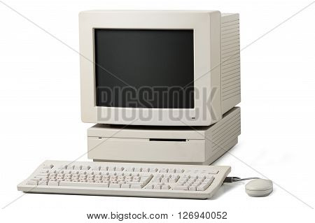 Old Personal Computer On A White Background