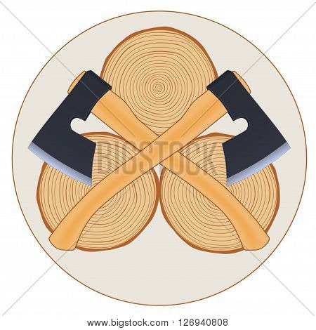 Lumberjack logo with crossed axes, vector illustration