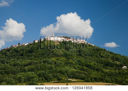 Motovun is a village in central Istria Croatia. View on the hill