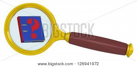 Handbook into a magnifying glass. Blue guide with the symbol question mark in a magnifying glass. Isolated. 3D Illustration