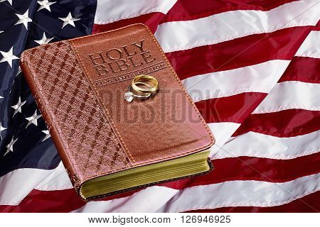 book on american usa flag concept religious values and strength